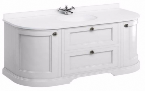 Burlington Freestanding 134 Curved Vanity Unit With Drawers & Doors Matt White - Various Colours